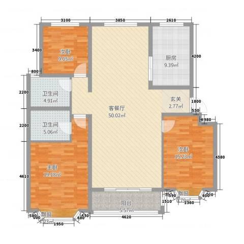 和平银座3室1厅2卫1厨166.00㎡户型图