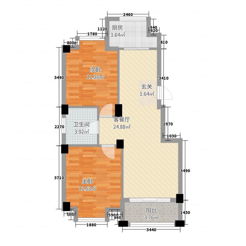 富甲86.11㎡小区D1户型2室2厅1卫1厨