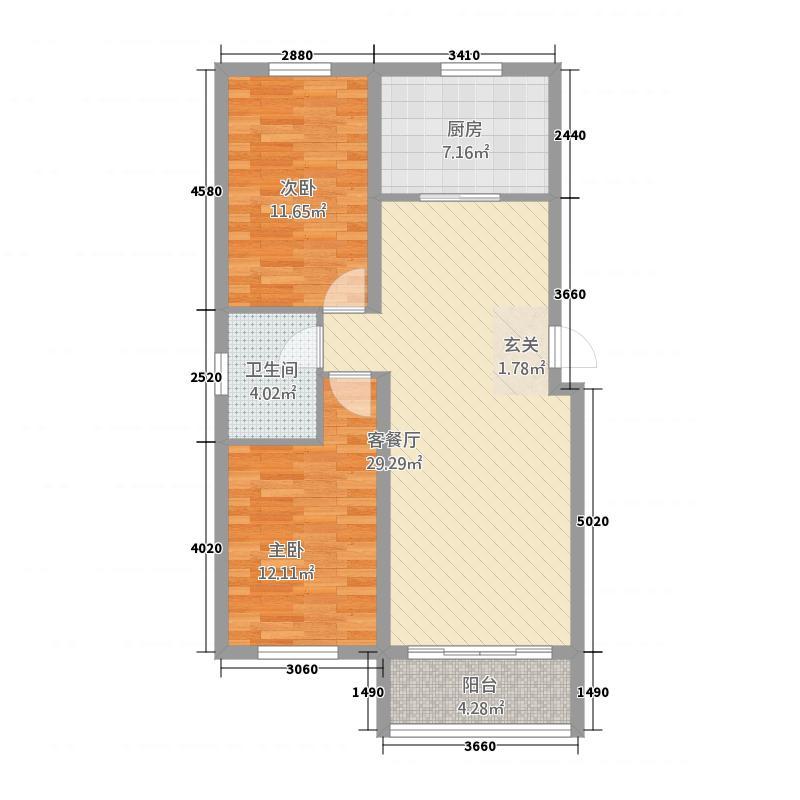 天圣华庭7.00㎡户型2室2厅1卫1厨