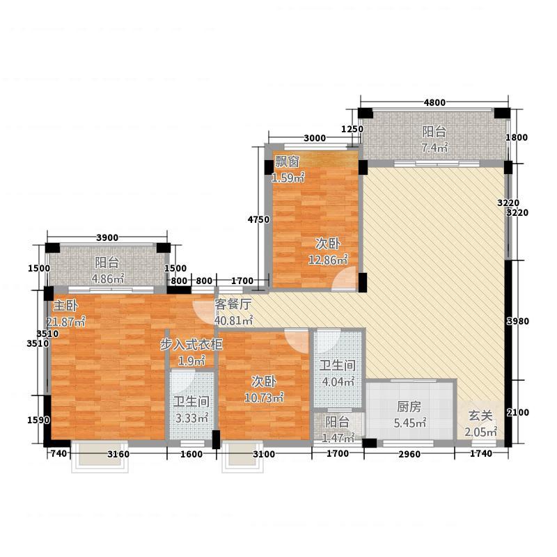 皇庭翡翠湾134.85㎡E1标准户型3室2厅2卫1厨