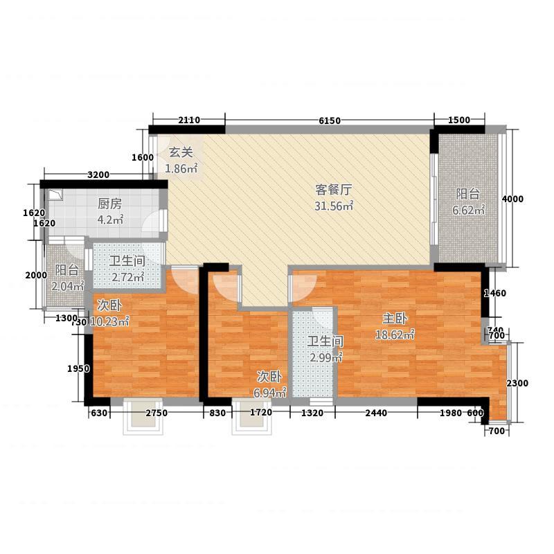 御水雅筑三期112.80㎡03户型3室2厅2卫