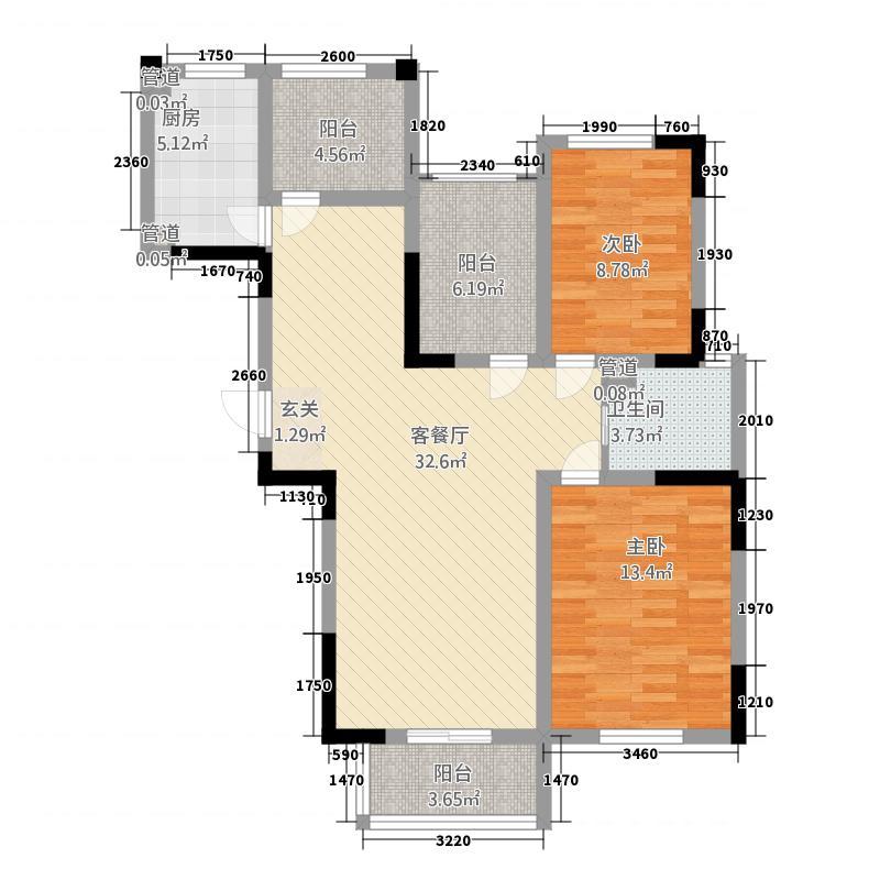 花园西郡113.23㎡E户型2室2厅1卫1厨