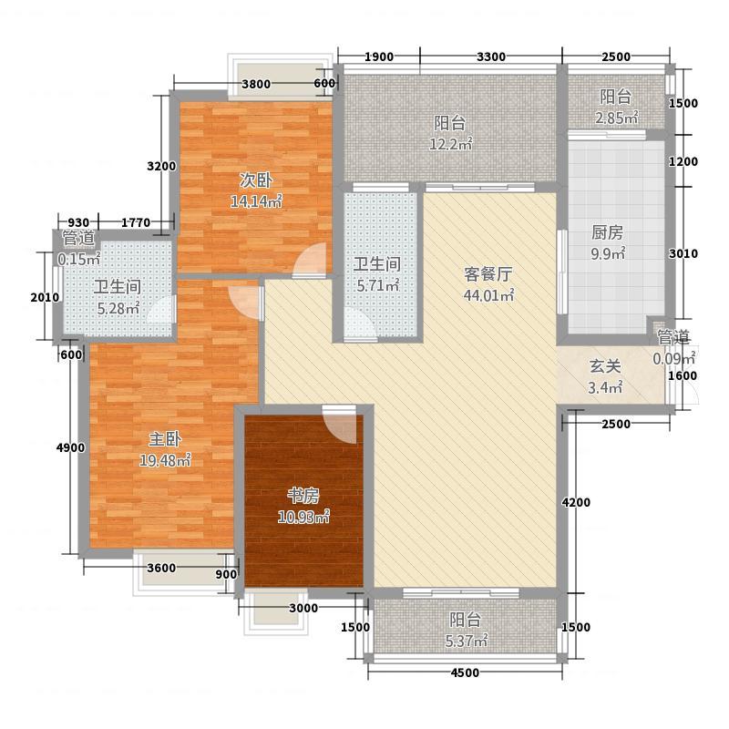 祈福湖滨花园14.00㎡户型4室2厅2卫1厨