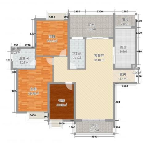 祈福湖滨花园3室1厅2卫1厨130.12㎡户型图