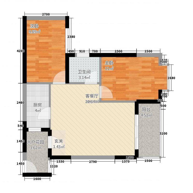 新域盛景72.20㎡G2户型2室2厅1卫1厨