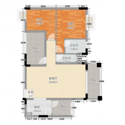 钜隆金溪蓝湾2室1厅2卫1厨112.00㎡户型图
