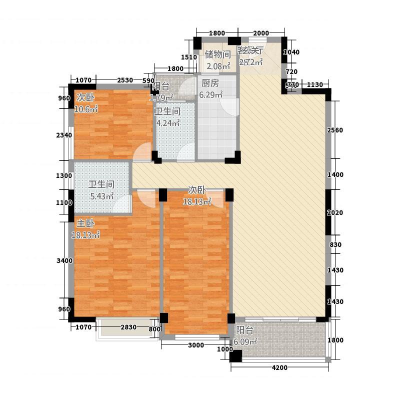 皇庭翡翠湾146.50㎡B2标准户型3室2厅2卫1厨