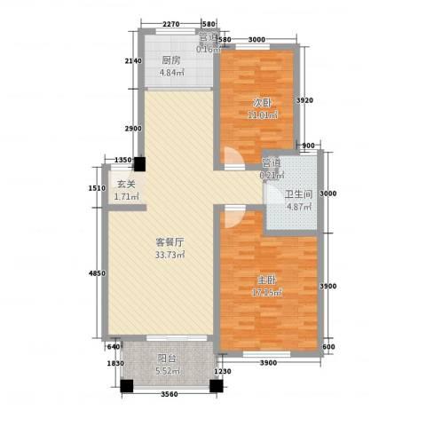 百合新城(海宁)2室1厅1卫1厨111.00㎡户型图