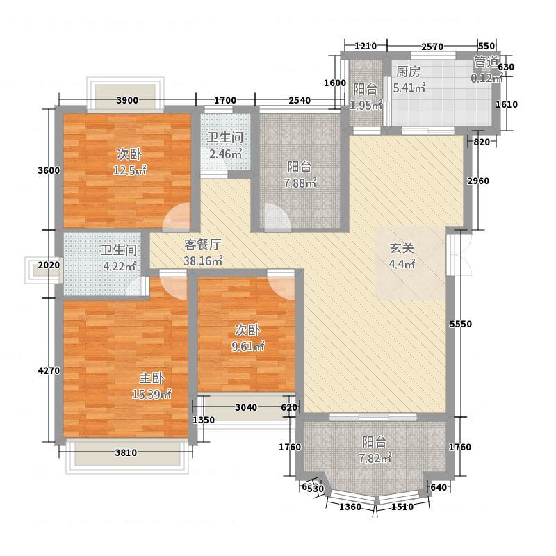 外滩新城3B户型3室2厅2卫