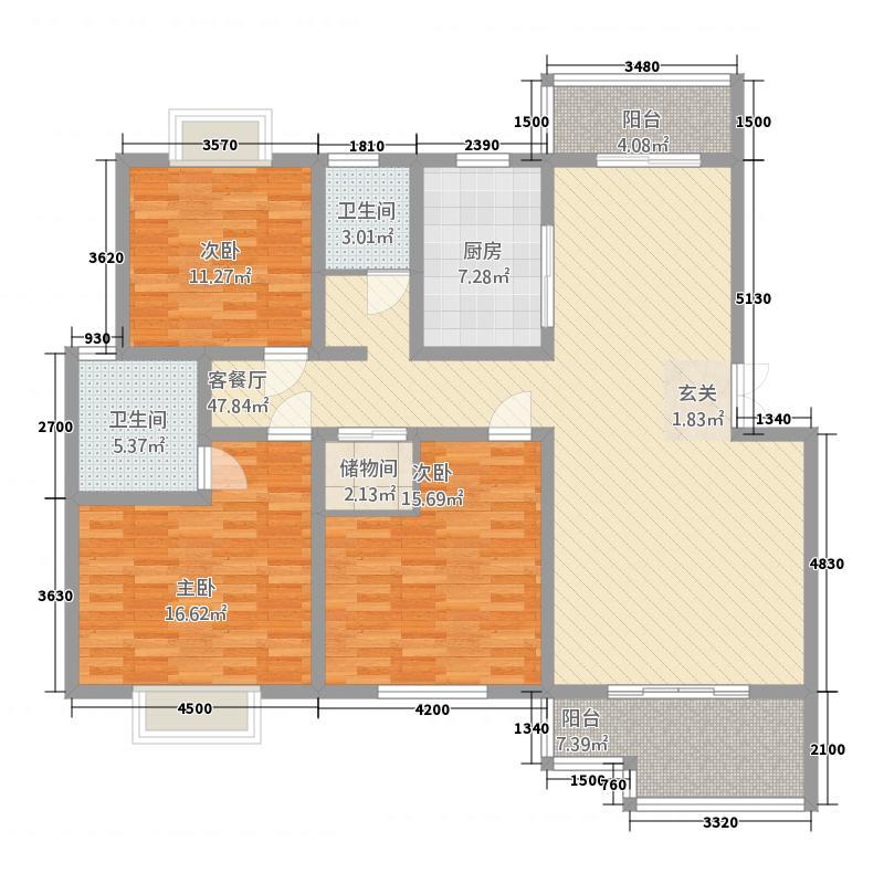 石林东城商贸中心3户型3室2厅2卫1厨