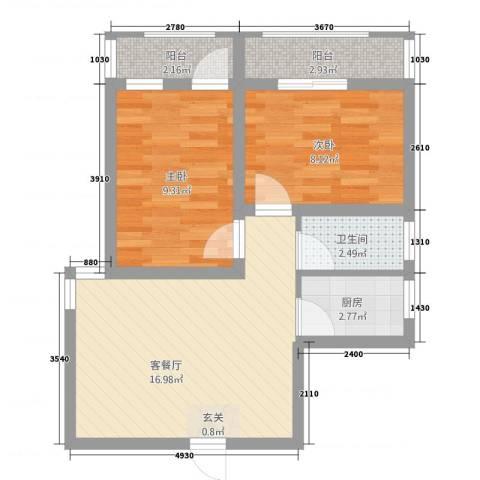 香山听语二期2室1厅1卫1厨65.00㎡户型图