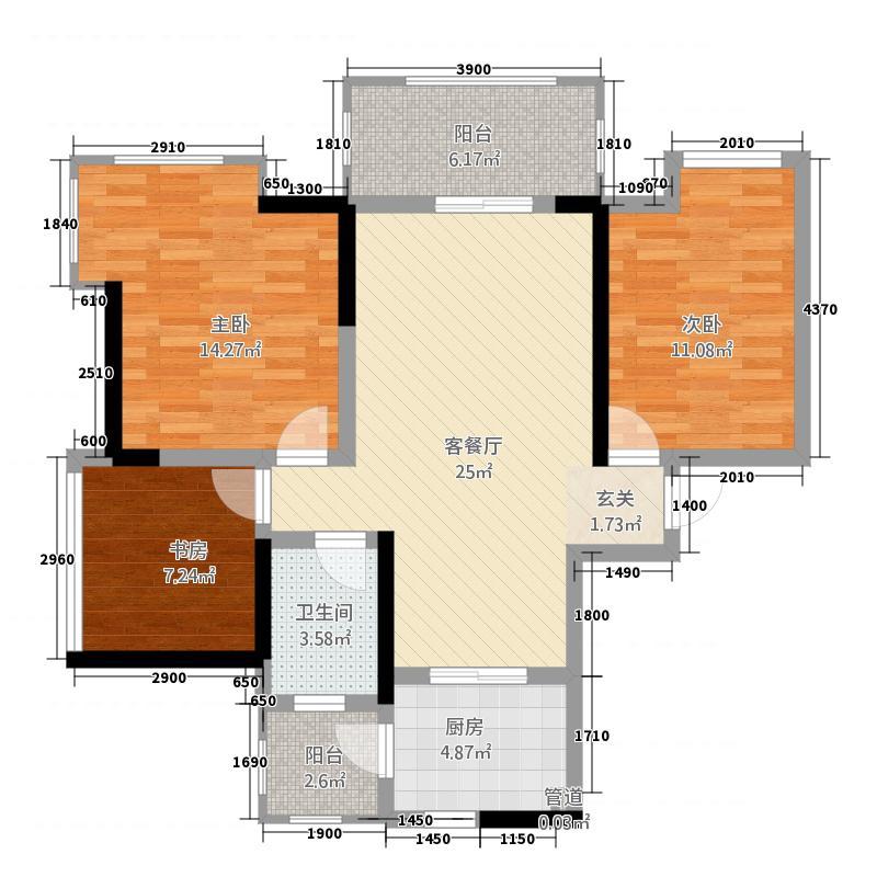 富临原山5.00㎡3【】户型3室2厅1卫1厨