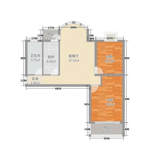 中浦家园二期2室1厅1卫1厨100.00㎡户型图