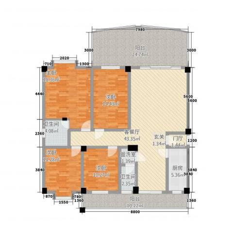 宝泰花园4室2厅2卫1厨210.00㎡户型图