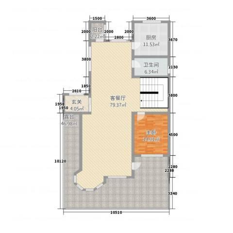皇家御墅1室1厅1卫1厨164.80㎡户型图