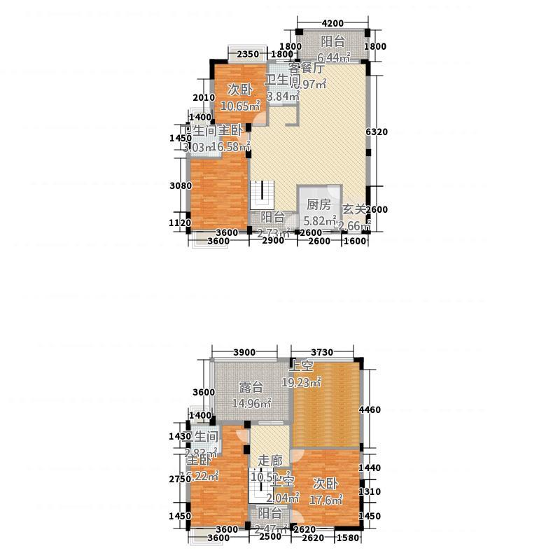皇庭翡翠湾173.55㎡B1楼中楼户型4室2厅3卫1厨