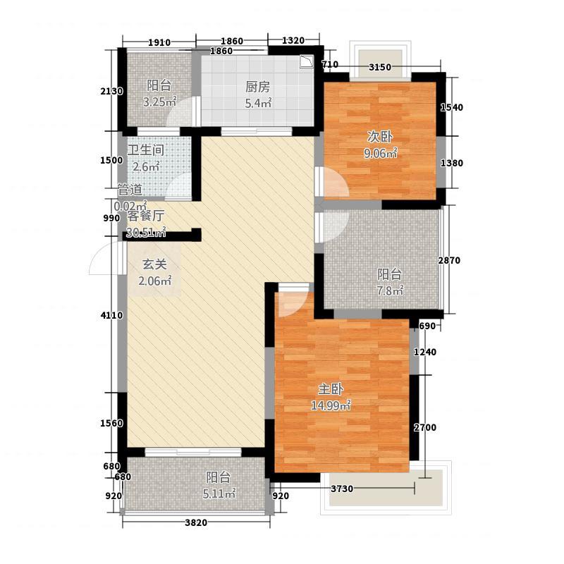 越湖名邸114.00㎡户型3室