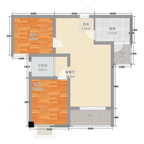 建业・阿里阳光2室1厅1卫1厨78.00㎡户型图