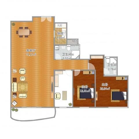 凯茵新城A16区天誉2室1厅2卫1厨154.00㎡户型图