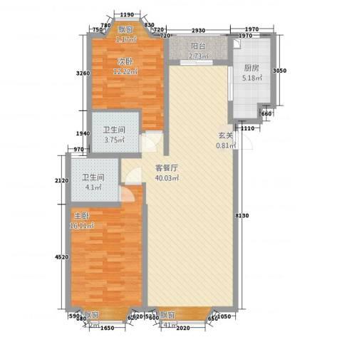 湘子嘉园2室1厅2卫1厨119.00㎡户型图