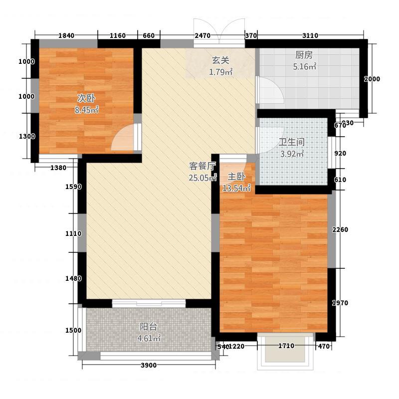 蔚蓝花城83.35㎡20号楼-A2户型2室2厅1卫1厨
