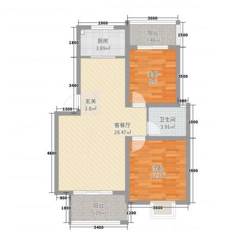 金科花园2室1厅1卫1厨97.00㎡户型图
