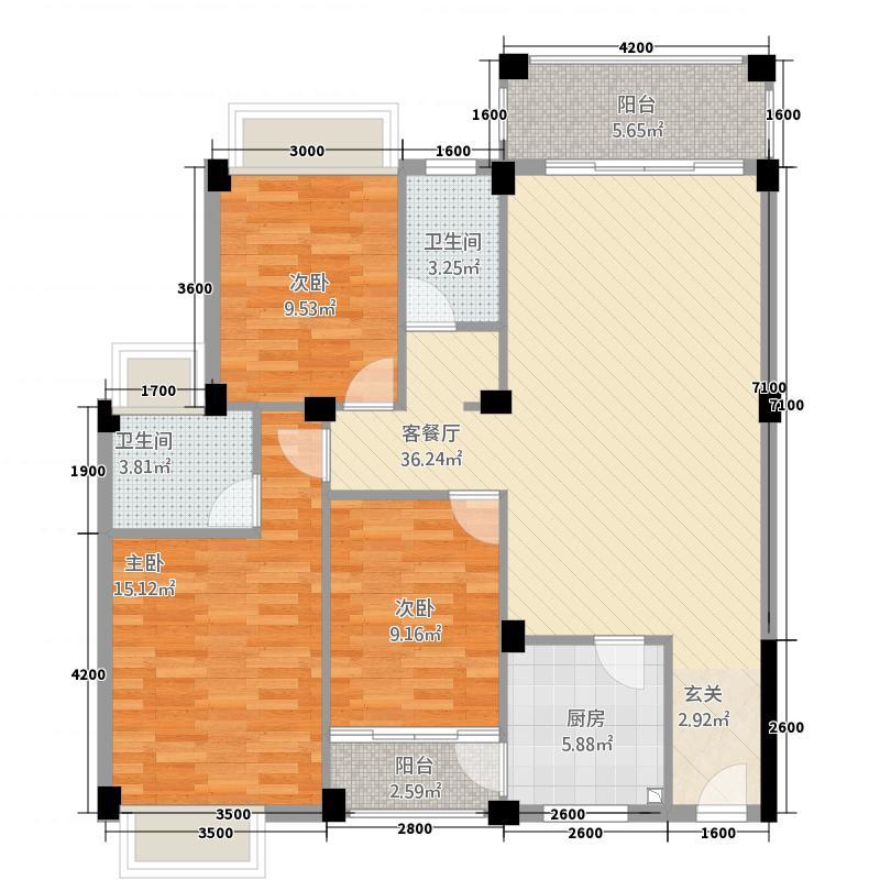 皇庭翡翠湾24.65㎡A2标准户型3室2厅2卫1厨