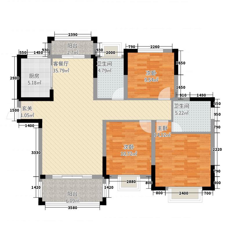 多伦・公园里124.00㎡B-2户型3室2厅2卫1厨
