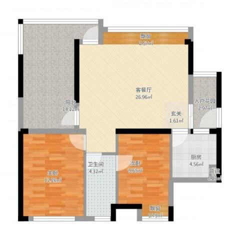 塘厦中信凯旋城2室1厅1卫1厨107.00㎡户型图