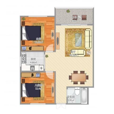 侨建花园2室1厅1卫1厨91.00㎡户型图