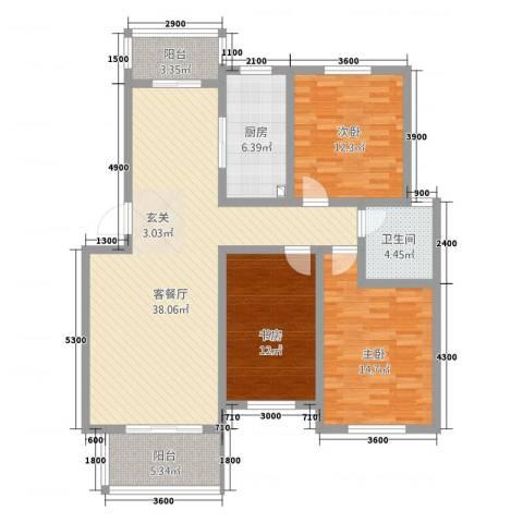 金科花园3室1厅1卫1厨96.89㎡户型图