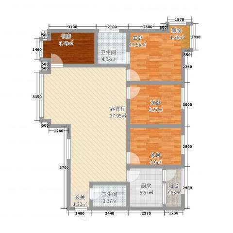 阳光曼哈顿4室1厅2卫1厨104.85㎡户型图