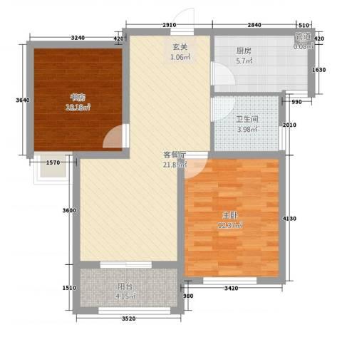 聚怡花园幸福小城2室1厅1卫1厨84.00㎡户型图