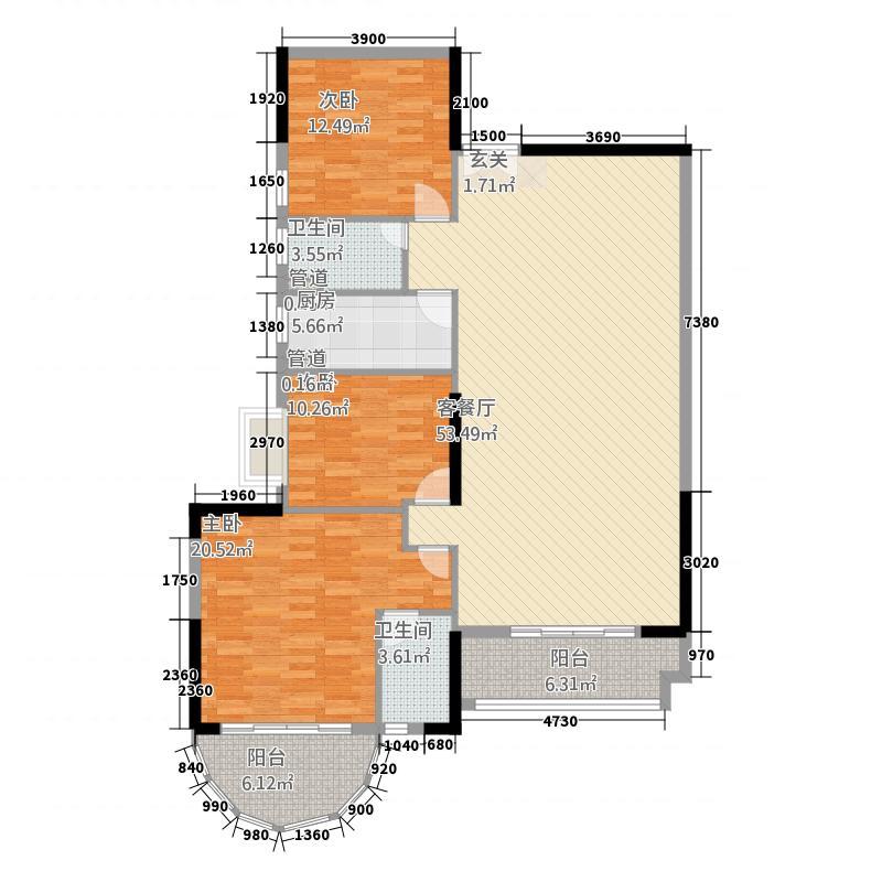 世纪华城15.75㎡A04B10户型3室2厅2卫1厨