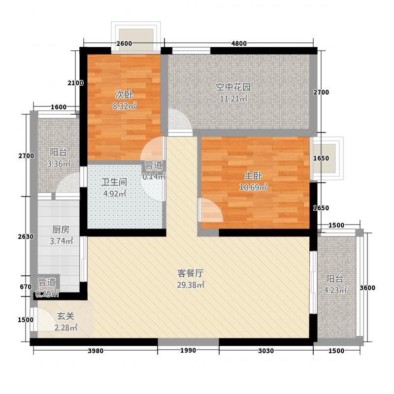 金色俊园2.00㎡LLb户型2室2厅1卫1厨