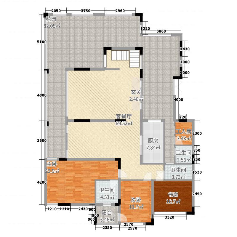 观山湖1号33.20㎡17栋底层亲地叠墅1号一层户型6室3厅5卫1厨