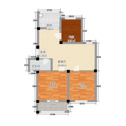 恒通大厦3室1厅1卫1厨97.00㎡户型图