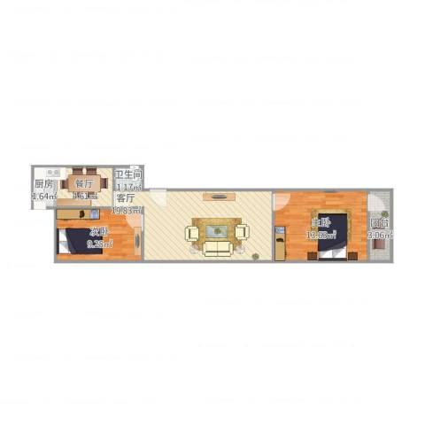 天东小区2室2厅1卫1厨72.00㎡户型图