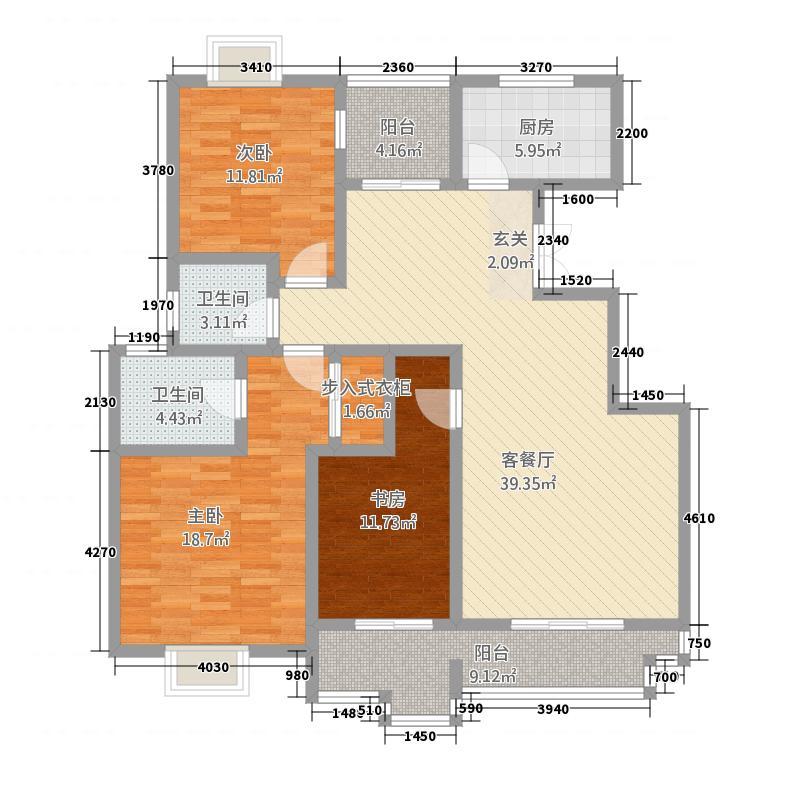 蔚蓝花城144.80㎡21号楼F3户型3室2厅2卫1厨