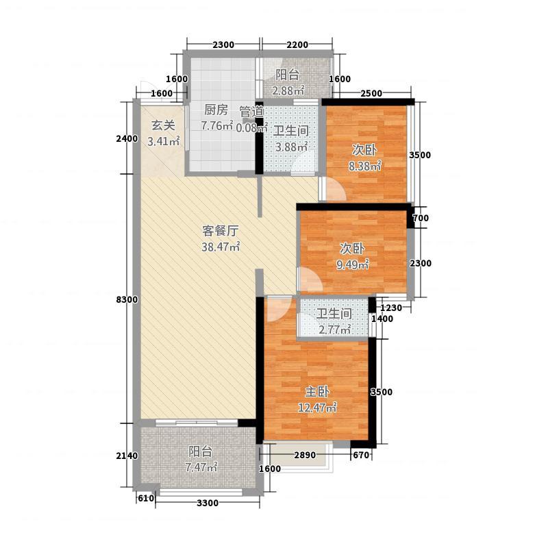 龙湖兆福苑115.10㎡9、10号楼4号房对称相同户型3室2厅2卫1厨
