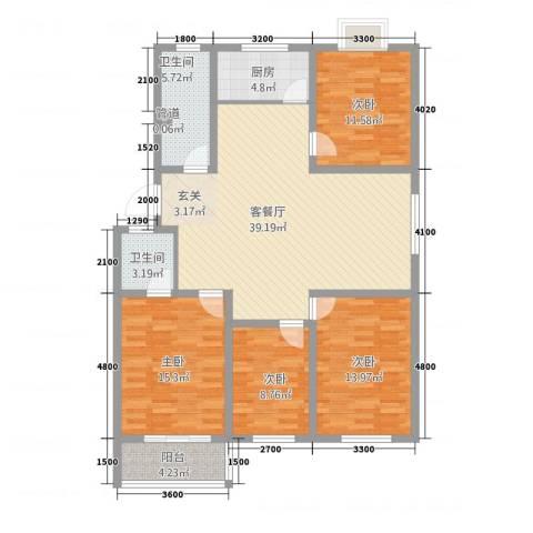 旺旺家园4室1厅2卫1厨152.00㎡户型图