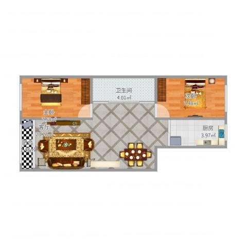 鸿博嘉园2室1厅1卫1厨61.00㎡户型图