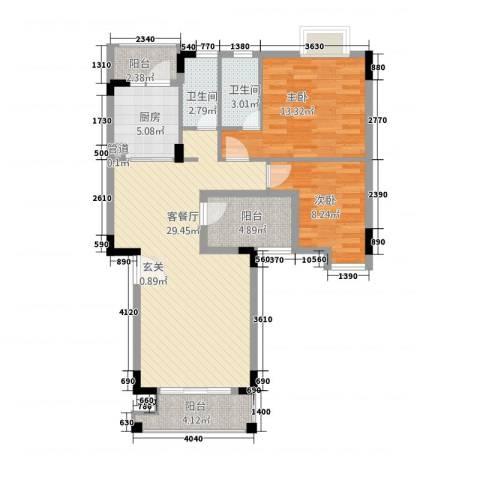 钜隆金溪蓝湾2室1厅2卫1厨73.37㎡户型图