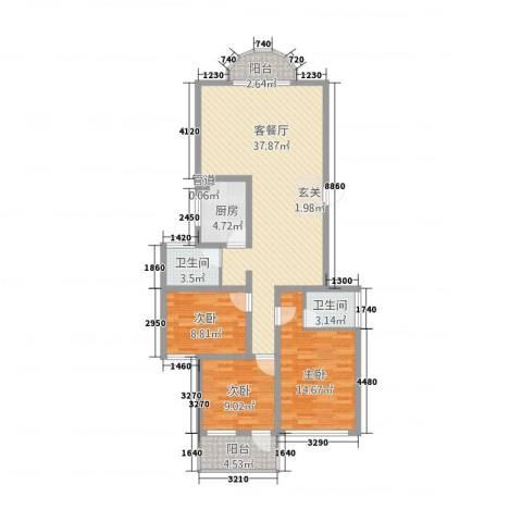 科教新村3室1厅2卫1厨128.00㎡户型图