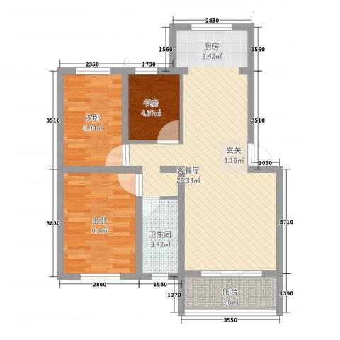 桃花岛城市花园二期3室1厅1卫0厨80.00㎡户型图