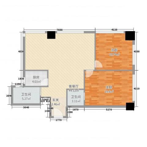 宋都奥体名座2室1厅2卫1厨128.00㎡户型图