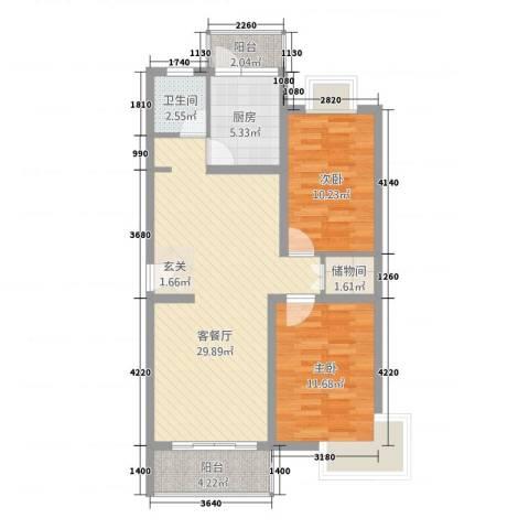中浦家园二期2室1厅1卫1厨97.00㎡户型图