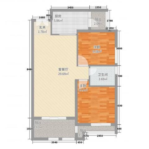 桃花岛城市花园二期2室1厅1卫1厨70.62㎡户型图