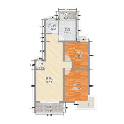 中浦家园二期2室1厅1卫1厨91.00㎡户型图