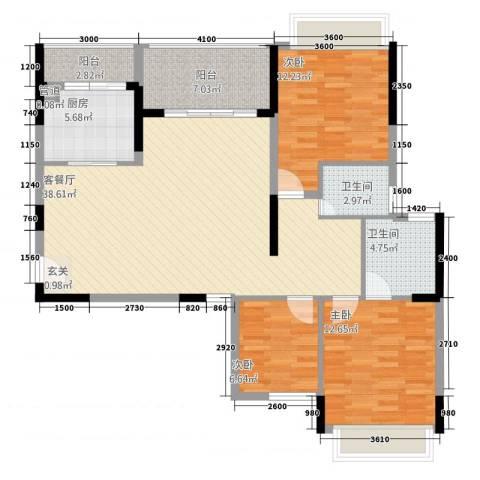 大华・富贵世家3室1厅2卫1厨93.46㎡户型图